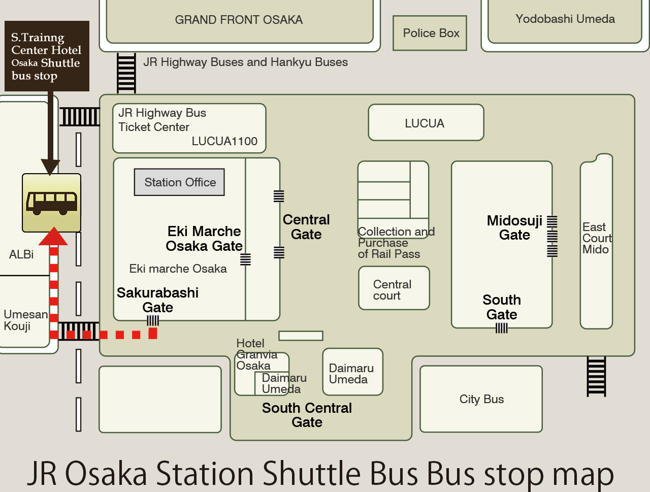 JR Osaka Station Shuttle Bus Stop Map